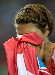 Croatia's Blanka Vlasic reacts after winning the women's high jump final of the 12th IAAF World Athletics Championships at the Olympic Stadium on August 20, 2009 in Berlin, Germany. (Photo by Vid Ponikvar / Sportida)