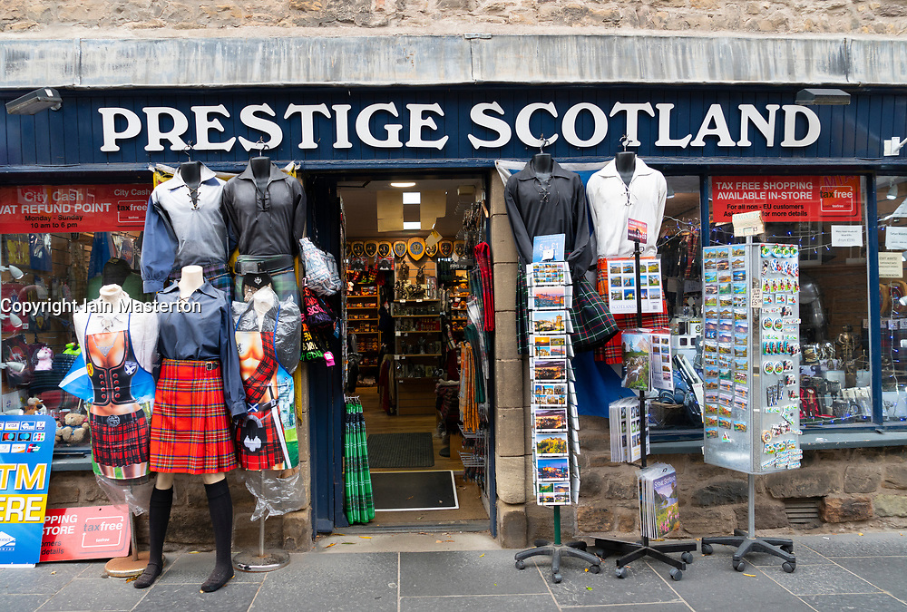 View of typical tourist gift shop on the Royal Mile in Edinburgh, Scotland, UK.