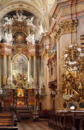 Peterskirche interior; main altar; ornate; St. Peter Church; Vienna; Austria; Wien