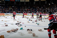 KELOWNA, CANADA - DECEMBER 2: Roman Basran #30, Kaedan Korczak #6, Nolan Foote #29 Kyle Topping #24 and Cal Foote #25 of the Kelowna Rockets celebrate a goal that triggers the annual teddy bear toss against the Kootenay Ice on December 2, 2017 at Prospera Place in Kelowna, British Columbia, Canada.  (Photo by Marissa Baecker/Shoot the Breeze)  *** Local Caption ***