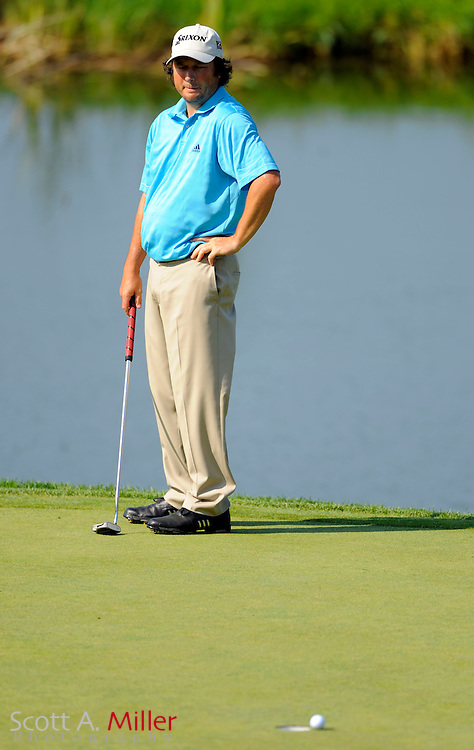 Aug 14, 2009; Chaska, MN, USA; Tim Clark (RSA) reacts to a missed putt on the 7th green during the second round of the 2009 PGA Championship at Hazeltine National Golf Club.  ©2009 Scott A. Miller