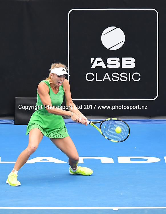 Danish tennis player Caroline Wozniacki during her first round singles match at the ASB Classic. WTA Womens Tournament. ASB Tennis Centre, Auckland, New Zealand. Tuesday 3 January 2017. © Copyright photo: Andrew Cornaga / www.photosport.nz