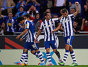 BARCELONA, SPAIN - MAY 11: Cristhian Ricardo Stuani of RCD Espanyol celebrates after scoring with his teamates during the Liga BBVA between RCD Espanyol and Real Madrid CF at the Cornella-El Prat Stadium on May 11, 2013 in Barcelona, Spain. (Photo by Aitor Alcalde Colomer).