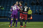 Team mates congratulate Alex Smithies (QPR) for making the save from the penalty during the Sky Bet Championship match between Sheffield Wednesday and Queens Park Rangers at Hillsborough, Sheffield, England on 23 February 2016. Photo by Mark P Doherty.