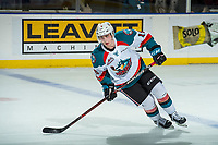 KELOWNA, CANADA - DECEMBER 27: Kole Lind #16 of the Kelowna Rockets skates during the shoot out against the Kamloops Blazers on December 27, 2017 at Prospera Place in Kelowna, British Columbia, Canada.  (Photo by Marissa Baecker/Shoot the Breeze)  *** Local Caption ***