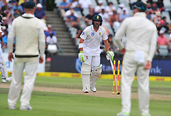Cape Town-180324 Proteas back on the crease today to start  second Innings on day 3 against  Australian  in the 3rd test of the Sunfoil cricket test at Newlands cricket stadium.Aiden Markram and Dean Elgar opened the betting today.Photograph:Phando Jikelo/African News Agency/ANA
