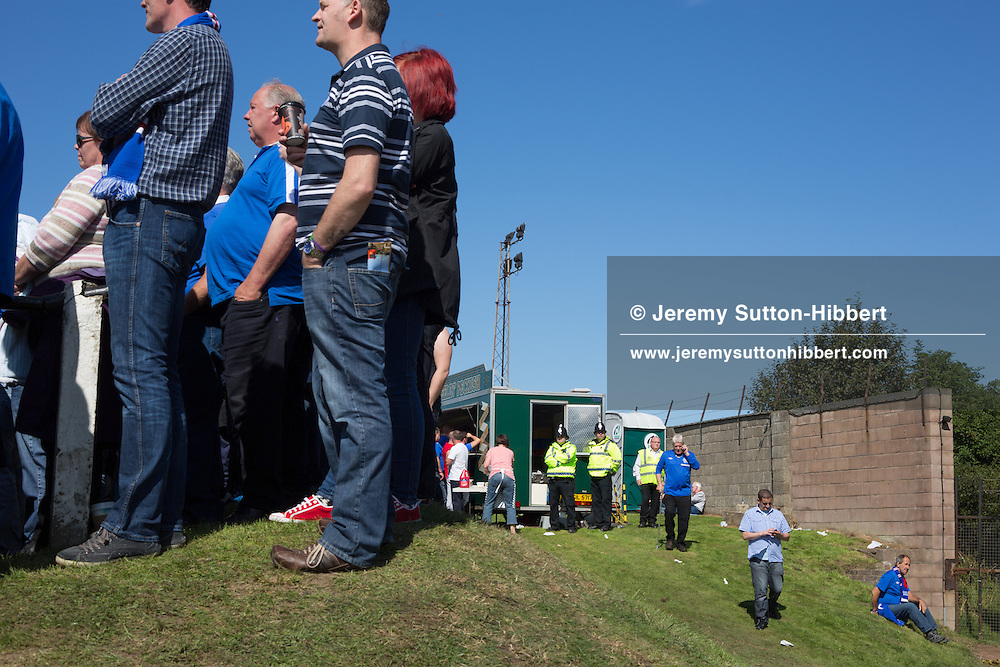Scenes of Rangers FC supporters during the 2nd half of the 3rd Division football game of Berwick Rangers versus Glasgow Rangers Football Club, at Shielfield Park, Berwick-Upon-Tweed, England, on Sunday 26th August 2012. .The final score was 1-1.