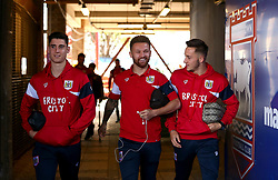 Callum O'Dowda, Matty Taylor and Josh Brownhill of Bristol City arrive at Portman Road, for the Sky Bet Championship fixture with Ipswich Town - Mandatory by-line: Robbie Stephenson/JMP - 30/09/2017 - FOOTBALL - Portman Road - Ipswich, England - Ipswich Town v Bristol City - Sky Bet Championship