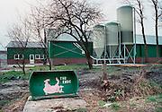 Nederland, Vredepeel, 20-03-2001Varkensstal. Intensieve veehouderij, mond en klauwzeer. Oost Brabant. Container aan de kant van de weg voor dood vee, dat door het destructiebedrijf wordt opgehaald. MKZ.The Netherlands, 20-3-2001The end. Container fot dead animals at a farm for pigs. Foot and mouth disease.Foto: Flip Franssen/Hollandse Hoogte