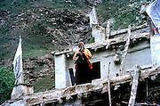 A meditating monk in the Kardang monastery,Lahaul valley,Himalayas, close to Tibet,Himachal Pradesh,India.