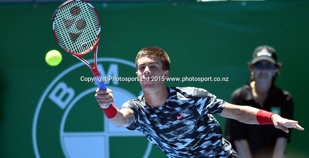 Croatia's Borna Coric in action during his first round singles match on Day 2 at the Heineken Open. Festival of Tennis, ATP World Tour. ASB Tennis Centre, Auckland, New Zealand. Tuesday 13 January 2015. Copyright photo: Andrew Cornaga/www.photosport.co.nz