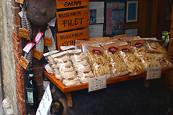 Pasta for sale as souvenirs of Tuscany along Via S. Giovanni.