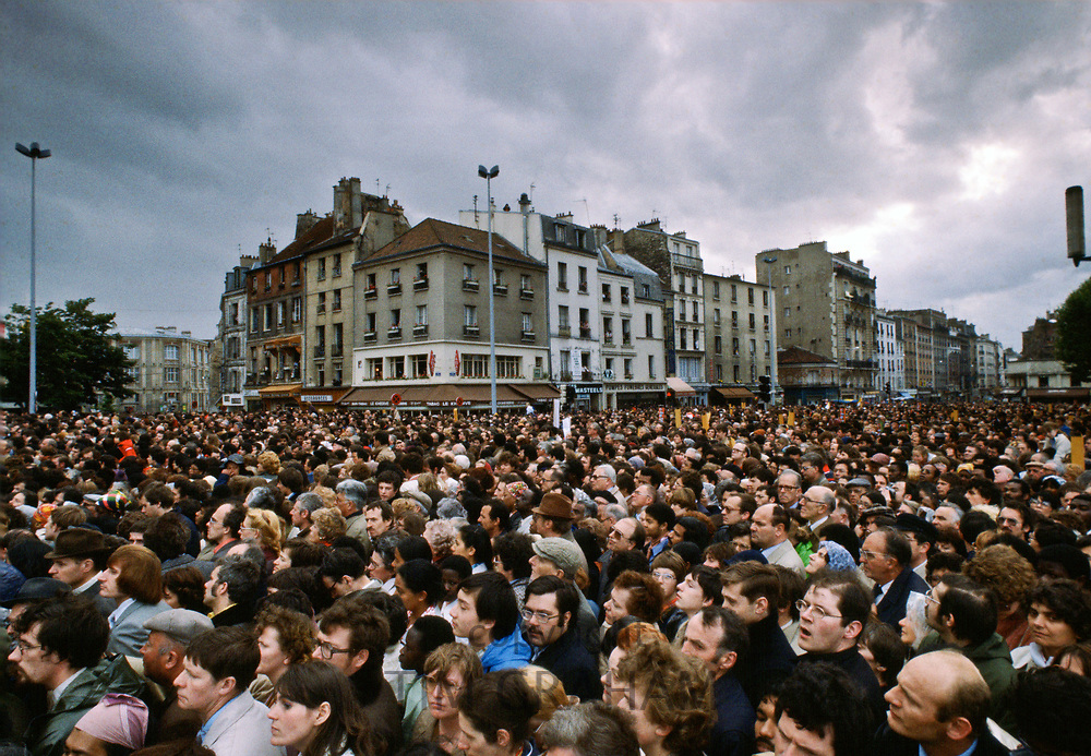 Huge crowd gathers for visit in 1980 by Pope John Paul II to Paris, France