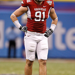 January 4, 2011; New Orleans, LA, USA;  Arkansas Razorbacks defensive end Jake Bequette (91) against the Ohio State Buckeyes during the second quarter of the 2011 Sugar Bowl at the Louisiana Superdome.  Mandatory Credit: Derick E. Hingle