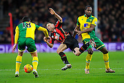 AFC Bournemouth midfielder Marc Pugh is fouled by Norwich City forward Cameron Jerome during the Barclays Premier League match between Bournemouth and Norwich City at the Goldsands Stadium, Bournemouth, England on 16 January 2016. Photo by Graham Hunt.