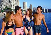 Couple on Beach, Waikiki, Hawaii
