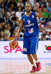 Tony Parker of France during basketball game between National basketball teams of Lithuania and France at FIBA Europe Eurobasket Lithuania 2011, on September 9, 2011, in Siemens Arena,  Vilnius, Lithuania.  (Photo by Vid Ponikvar / Sportida)