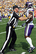 Minnesota Vikings wide receiver Stefon Diggs (14) bumps into an official after catching a third quarter pass for a gain of 21 yards and a first down at the Steelers 26 yard line during the 2017 NFL week 2 regular season football game against the against the Pittsburgh Steelers, Sunday, Sept. 17, 2017 in Pittsburgh. The Steelers won the game 26-9. (©Paul Anthony Spinelli)