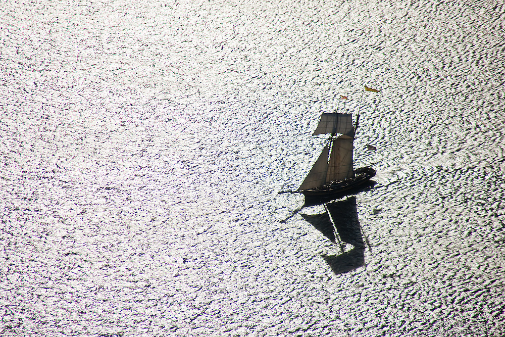 Aerial Photo of Pride of Baltimore 2 sailing on Maryland Patapsco River near Inner Harbor