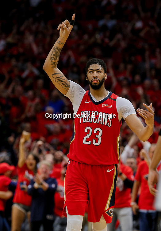 Apr 21, 2018; New Orleans, LA, USA; New Orleans Pelicans forward Anthony Davis (23) reacts after drawing a foul to secure a win against the Portland Trail Blazers during the fourth quarter in game four of the first round of the 2018 NBA Playoffs at the Smoothie King Center.  Pelicans defeated the Trail Blazers 131-123 sweeping the series and advancing to the western conference semi-finals.  Mandatory Credit: Derick E. Hingle-USA TODAY Sports