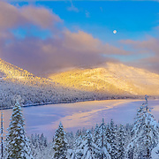 A clearing winter storm at Donner Lake near Truckee, California