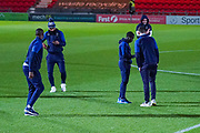 AFC Wimbledon players arrive at the ground during the The FA Cup match between Doncaster Rovers and AFC Wimbledon at the Keepmoat Stadium, Doncaster, England on 19 November 2019.