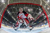 KELOWNA, BC - NOVEMBER 30: Taylor Gauthier #35 of the Prince George Cougars stands in the crease at the start of the game against the Kelowna Rockets at Prospera Place on November 30, 2019 in Kelowna, Canada. (Photo by Marissa Baecker/Shoot the Breeze)