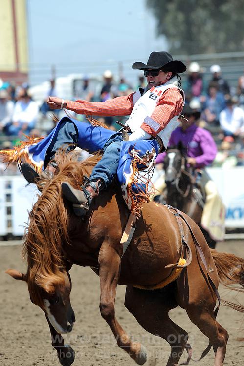 Kody Lamb, from Sherwood Park, Alberta, has a great bareback ride on Sunday, the Day of Champions and Man Up Crusade Day at the 2016 California Rodeo Salinas.
