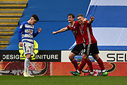 Goal - Callum Connolly (16) of Ipswich Town celebrates scoring a goal with Martyn Waghorn (9) of Ipswich Town to give a 0-4 lead to the away team with Liam Kelly (38) of Reading looking dejected during the EFL Sky Bet Championship match between Reading and Ipswich Town at the Madejski Stadium, Reading, England on 28 April 2018. Picture by Graham Hunt.