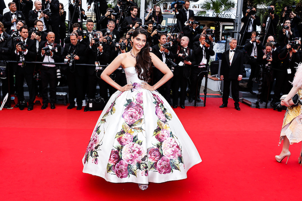 Sonam Kapoor arrives for the screening of the film Young & Beautiful at the 66th international film festival, in Cannes, southern France, Thursday, May 16, 2013. .Photo Ki Price