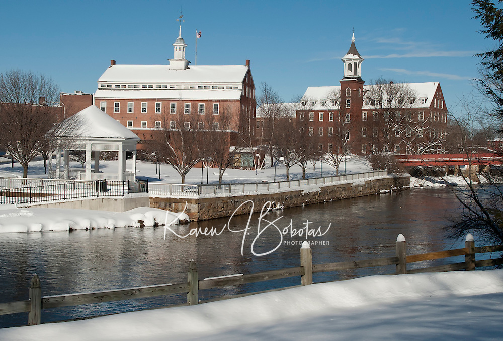 The calm after the storm brought clear blue skies and a new, fresh coating of snow to blanket downtown Laconia.  (Karen Bobotas/for the Laconia Daily Sun)