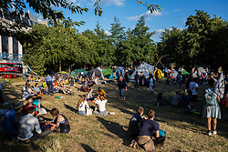 London, UK. 15 July, 2019. The Extinction Rebellion camp site at Waterloo Millennium Green on the first day of the group's 'summer uprising', a series of events intended to apply pressure on local and central government to address the climate and biodiversity crisis.