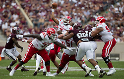 Louisiana-Lafayette quarterback Jordan Dives passes down field against Texas A&M during the second quarter of an NCAA college football game Saturday, Sept. 16, 2017, in College Station, Texas. (AP Photo/Sam Craft)