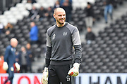 Fulham goalkeeper David Button (27) enjoying th warm up before the EFL Sky Bet Championship match between Fulham and Aston Villa at Craven Cottage, London, England on 17 April 2017. Photo by Jon Bromley.