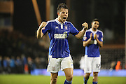 Ipswich defender Jonas Knudsen celebrating the Ipswich win during the Sky Bet Championship match between Fulham and Ipswich Town at Craven Cottage, London, England on 15 December 2015. Photo by Matthew Redman.