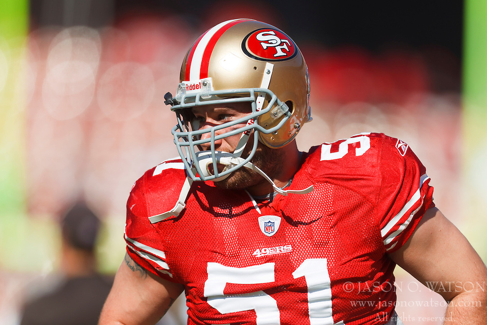Oct 30, 2011; San Francisco, CA, USA; San Francisco 49ers linebacker Blake Costanzo (51) warms up before the game against the Cleveland Browns at Candlestick Park. San Francisco defeated Cleveland 20-10. Mandatory Credit: Jason O. Watson-US PRESSWIRE