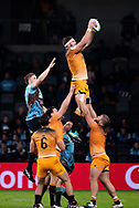 SYDNEY, AUSTRALIA - MAY 25: Jaguares player Marcos Kremer (5) goes up for the ball at week 15 of Super Rugby between NSW Waratahs and Jaguares on May 25, 2019 at Western Sydney Stadium in NSW, Australia. (Photo by Speed Media/Icon Sportswire)