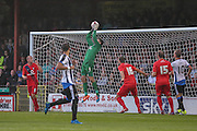 Scott Flinders claims the ball during the Pre-Season Friendly match between York City and Newcastle United at Bootham Crescent, York, England on 29 July 2015. Photo by Simon Davies.