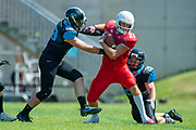 Wolves Calum Davidson (#21) attempts to break the tacke of Giants Matthew Sherridan (#29) and  Harry O'Neill (#28)during the BAFA Northern Division match between Edinburgh Wolves and Sheffield Giants at Meggetland Sports Complex, Edinburgh, Scotland on 1 July 2018. Picture by Malcolm Mackenzie.