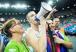 Klemen Prepelic of Slovenia saying Thank You to Slovenian supporters after winning during basketball match between Slovenia vs Netherlands at Day 4 in Group C of FIBA Europe Eurobasket 2015, on September 8, 2015, in Arena Zagreb, Croatia. Photo by Vid Ponikvar / Sportida