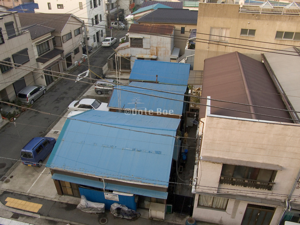 over view of a residential neighborhood Yasuura Machi in Yokosuka