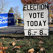CLINTON, CONNECTICUT- NOVEMBER 08: Signs outside the Clinton Town Hall used for poling on election day in the coastal town of Clinton, Connecticut on November 08, 2016 (Photo by Tim Clayton/Corbis via Getty Images)