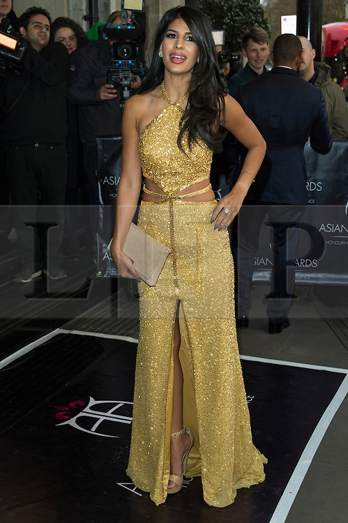 © Licensed to London News Pictures. 08/04/2016. JASMINE WALIA attends The Asian Awards celebrating the best in Asian achievement across business, sport, philanthropy, and popular arts and culture. London, UK. Photo credit: Ray Tang/LNP