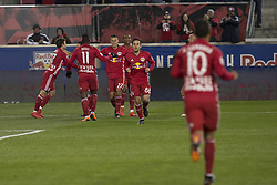 March 10, 2018 - Harrison, New Jersey, United States - Players of Red Bulls celebrates scoring goal by Benjamin Mines (17) during regular MLS game against Portland Timbers at Red Bull Arena Red Bulls won 4 - 0 (Credit Image: © Lev Radin/Pacific Press via ZUMA Wire)