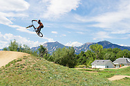 Chance Leingang of Fort Collins on the Dirt Jumps track at the popular Valmont Bike Park in Boulder, CO. © Brett Wilhelm