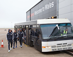CARDIFF, WALES - Saturday, November 15, 2014: Wales' James Collins and the squad arrive at Cardiff Airport for their flight to Brussels ahead of the UEFA Euro 2016 Qualifying Group B game against Belgium. (Pic by David Rawcliffe/Propaganda)