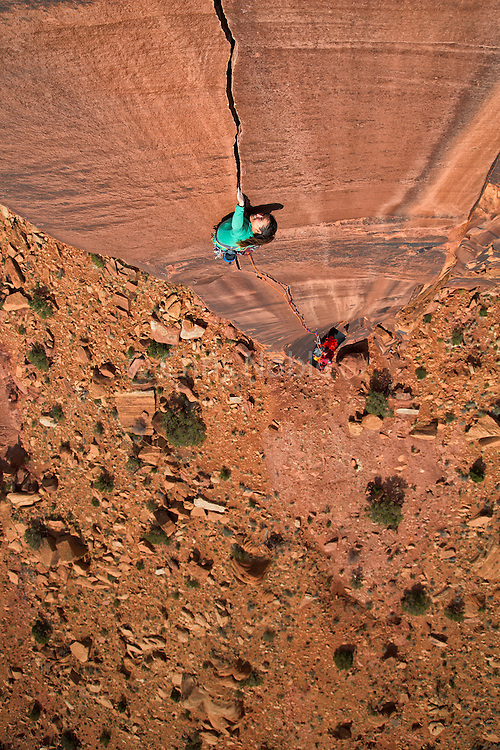 "Pro climber Brittany Griffith climbing ""Six Star Crack"" 13a, Indian Creek Canyon, Southern Utah."