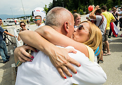 Bogdan Fink, race director kissing his wife after the 5th Time Trial Stage of 25th Tour de Slovenie 2018 cycling race between Trebnje and Novo mesto (25,5 km), on June 17, 2018 in  Slovenia. Photo by Vid Ponikvar / Sportida