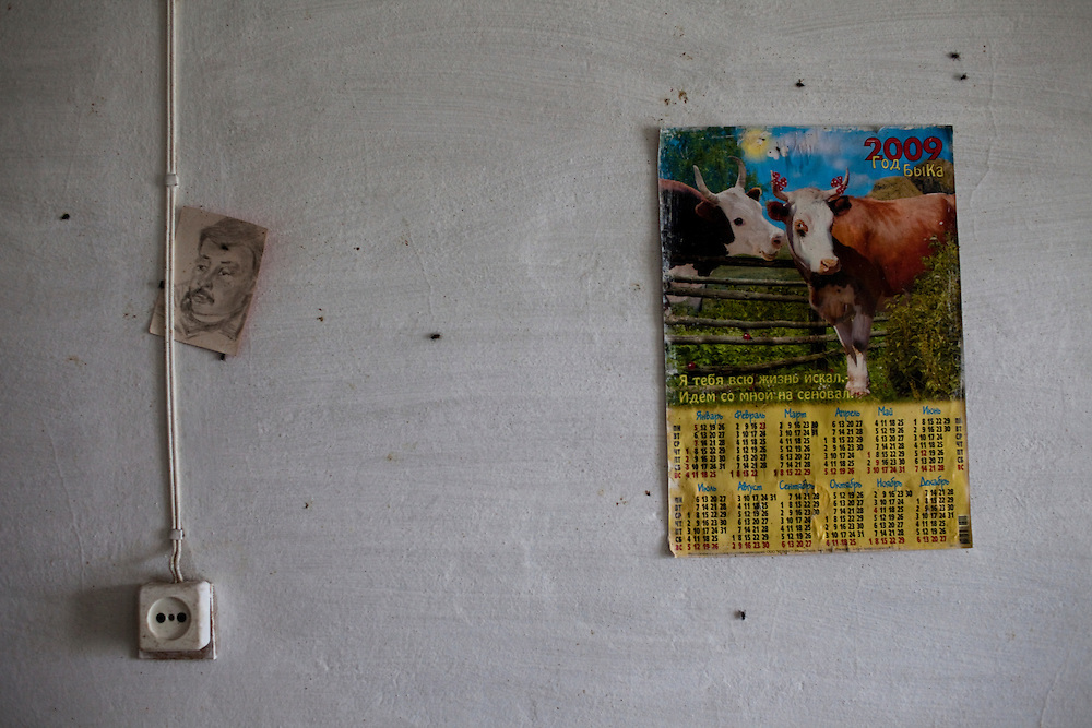 CREDIT: DOMINIC BRACCO II..SLUG:PRJ/KAZAKHSTAN SHEEP HERDERS..DATE:10/22/2009..CAPTION:A calender and hand sketched photograph at a shepherd's home near Semey, Kazakhstan. The herders live near a radio active lake which was made during the 1970s as part of an experiment by the USSR to create lakes from atomic bombs. The lake is in an area known as The Polygon, a test site for more than 400 of the Soviet Union's nuclear weapons.