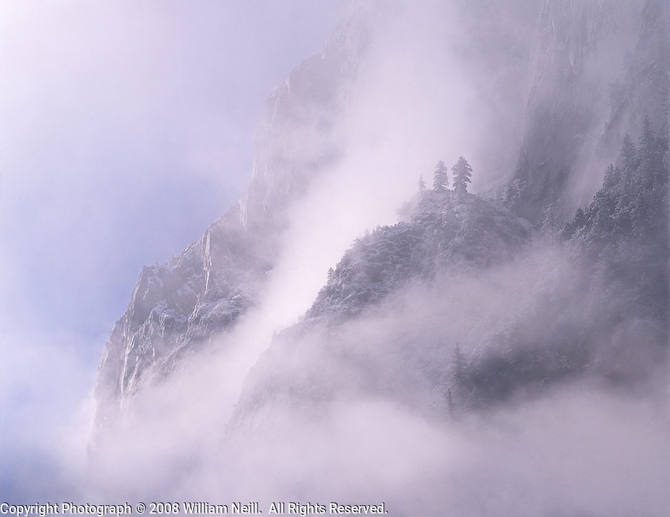 Shrouded cliffs on Glacier Point, Yosemite National Park, California  1994